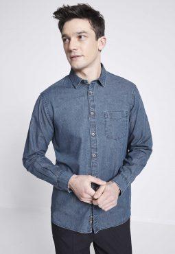 חולצה מכופתרת DENIM בגזרת regular מבד כותנה