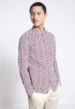 חולצה מכופתרת מבד פופלין עם הדפס וצווארון סיני