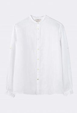 חולצה מכופתרת מבד פשתן עם צווארון סיני
