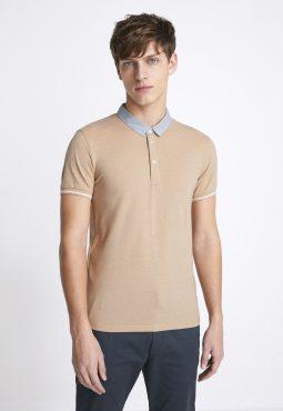 חולצת פולו עם צווארון פסים שרוול קצר