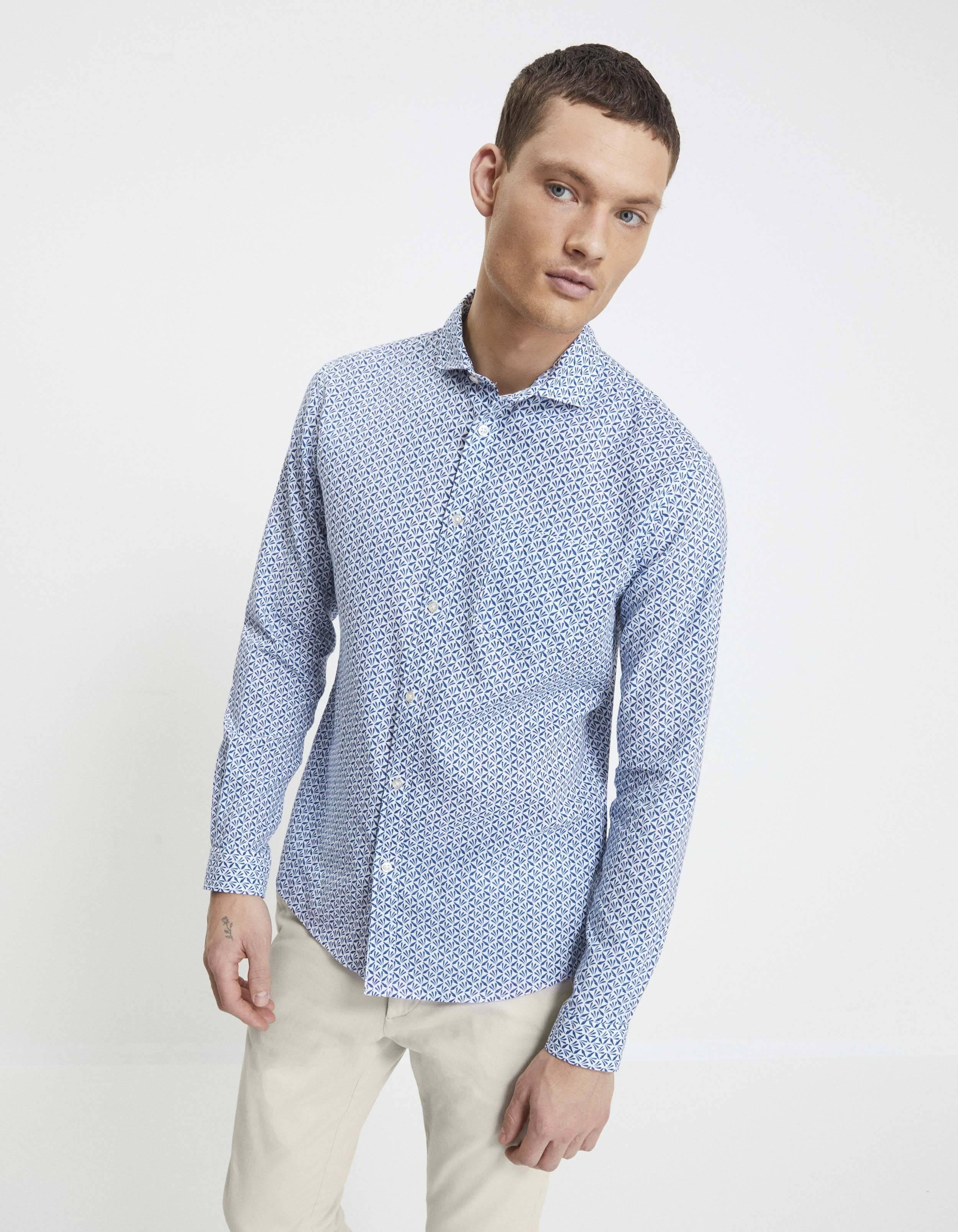 חולצה מכופתרת טקסטורה 100% כותנה בגזרת slim