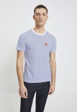 חולצת טי קצרה הדפס פסים ורקמה