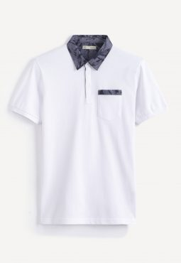 חולצת פולו צווארון מודפס ושרוול קצר