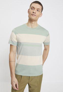 חולצת טי קצרה פסים אסימטריים