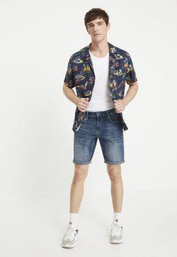 מכנסי ברמודה ג'ינס סטרץ'