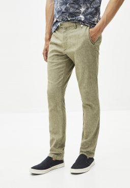 מכנסי צ'ינו כותנה/פשתן בגזרה צרה