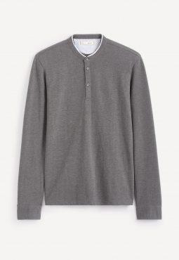 חולצת פולו שרוול ארוך וצווארון סיני מודפס