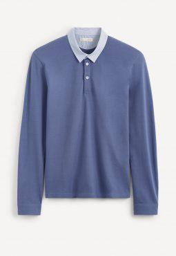 חולצת פולו שרוול ארוך וצווארון פסים