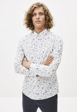 חולצה מכופתרת הדפס פרחוני בגזרת סלים 100% כותנה