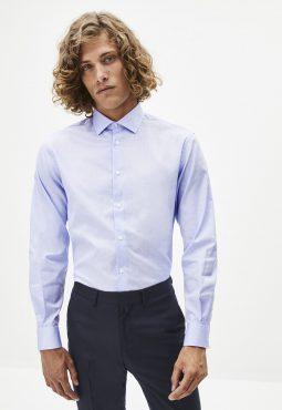 חולצה מכופתרת דוחה כתמים, צווארון איטלקי וגזרה רגילה