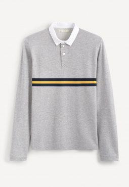 חולצת פולו שרוול ארוך עם צווארון לבן 100% כותנה