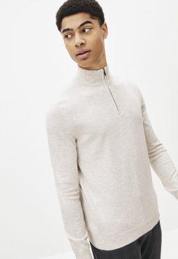 סוודר צווארון גבוה עם רוכסן