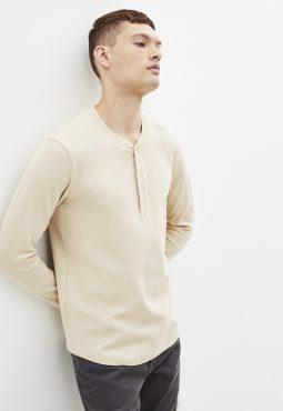 חולצת טי גברית, צווארון עגול וכפתורים, 100% כותנה