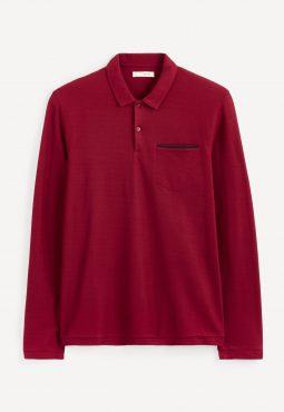 חולצת פולו חלקה שרוול ארוך, כיס חזה