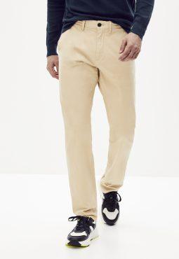 מכנסי צי'נו סטרץ' עם חגורה בגזרה ישרה