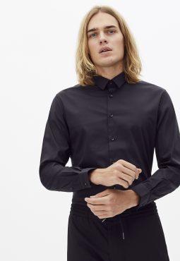 חולצה מכופתרת slim מבד כותנה בשילוב סטרץ'