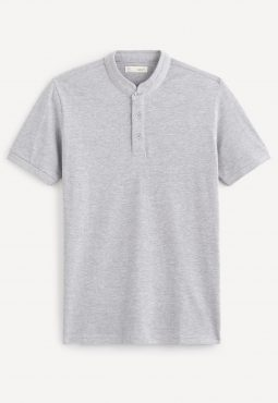 חולצת פולו שרוול קצר צווארון סיני, 100% כותנה