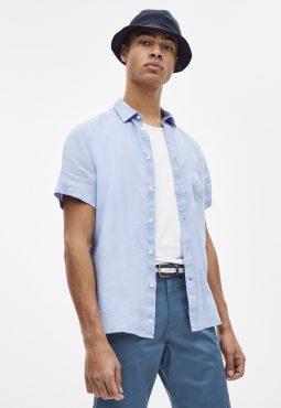 חולצה מכופתרת שרוול קצר 100% פשתן