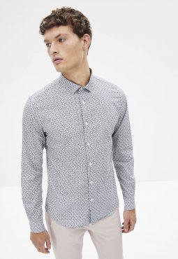 חולצה מכופתרת בגזרה צרה, 100% כותנה
