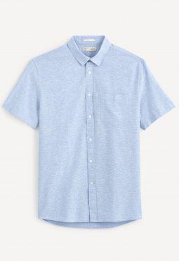 חולצה מכופתרת שרוול קצר, פשתן/כותנה, גזרת Regular