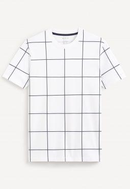 חולצת טי משבצות צווארון עגול, 100% כותנה