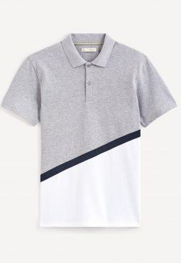 חולצות פולו קולור בלוק שרוול קצר, 100% כותנה