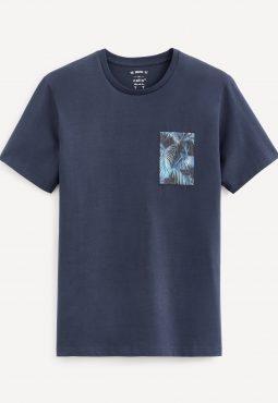 חולצת טי צווארון עגול, כיס טרופיקל, 100% כותנה
