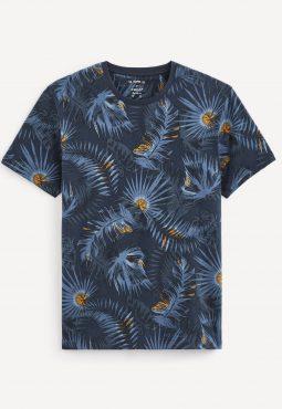 חולצת טי רטרו צווארון עגול, הדפס טרופיקל, 100% כותנה