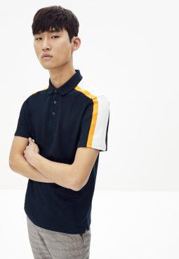 חולצת פולו שרוול קצר עם פסי כתף