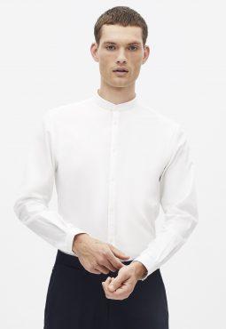 חולצה מכופתרת 100% כותנה, צווארון סיני, גזרה צרה