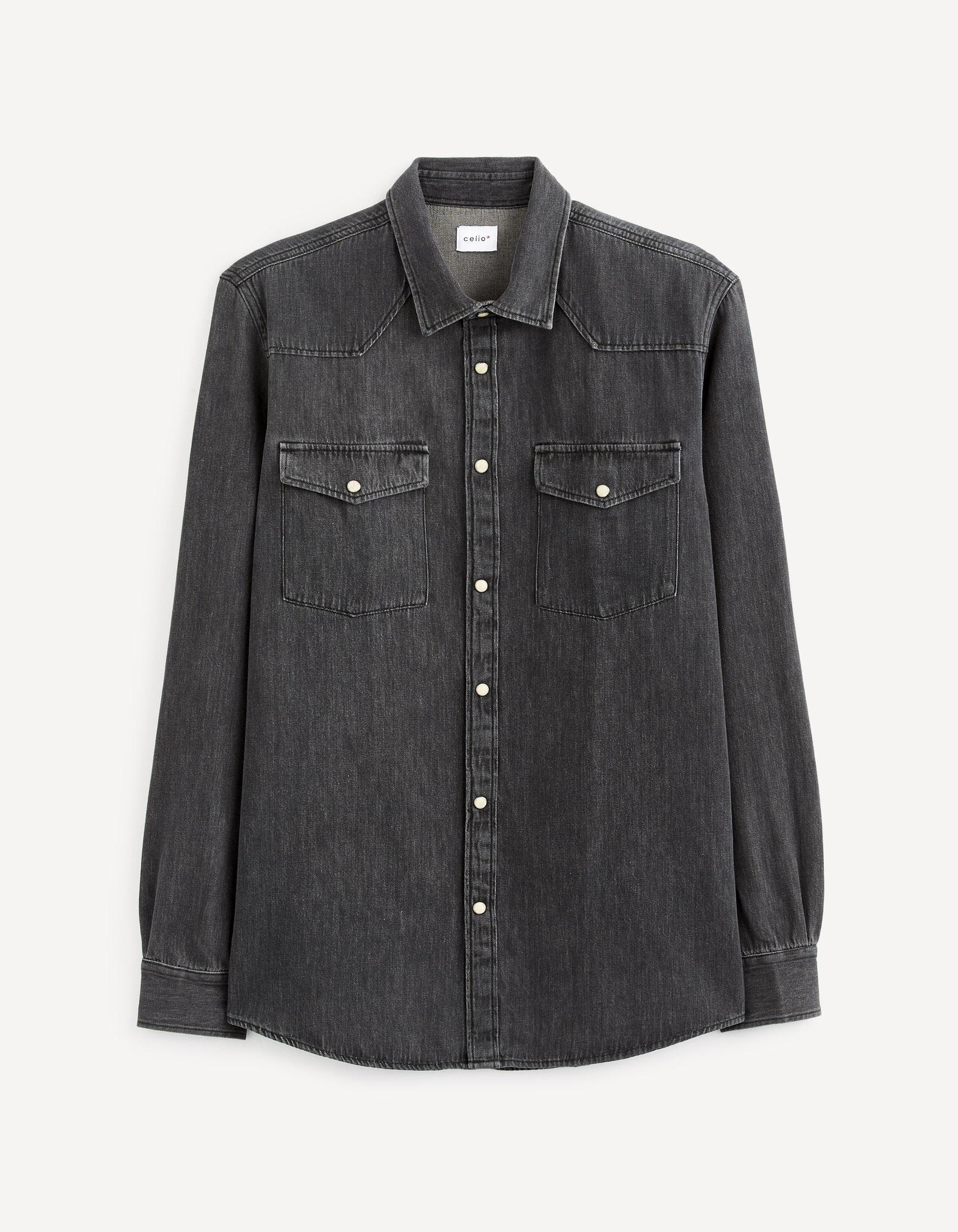 חולצת ג'ינס שרוול ארוך 100% כותנה