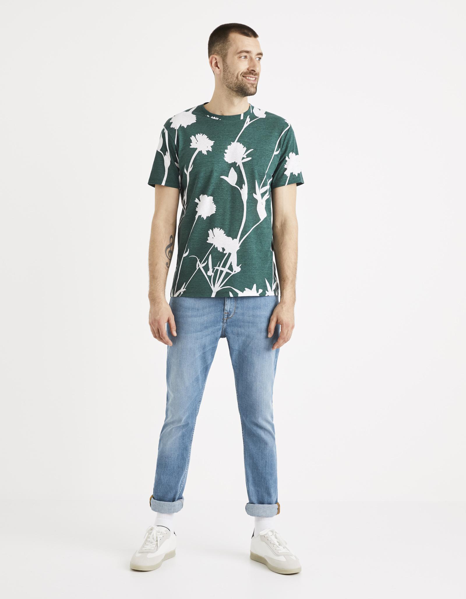 חולצת טי הדפס פרחים צווארון עגול