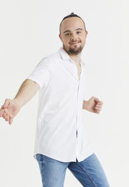 חולצה מכופתרת ג'רסי קצרה