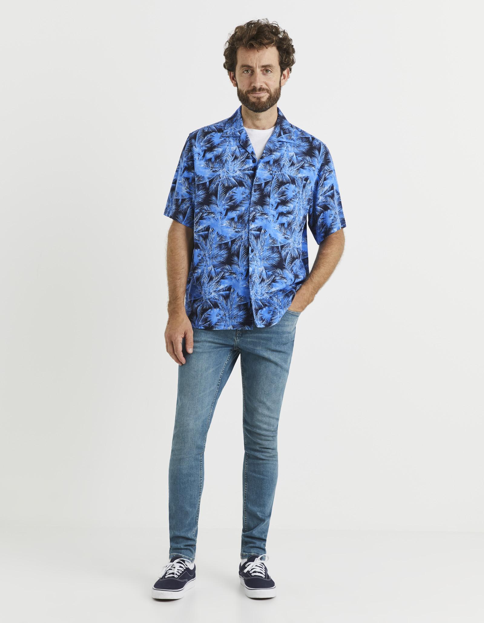 חולצה מכופתרת קצרה הדפס עלים