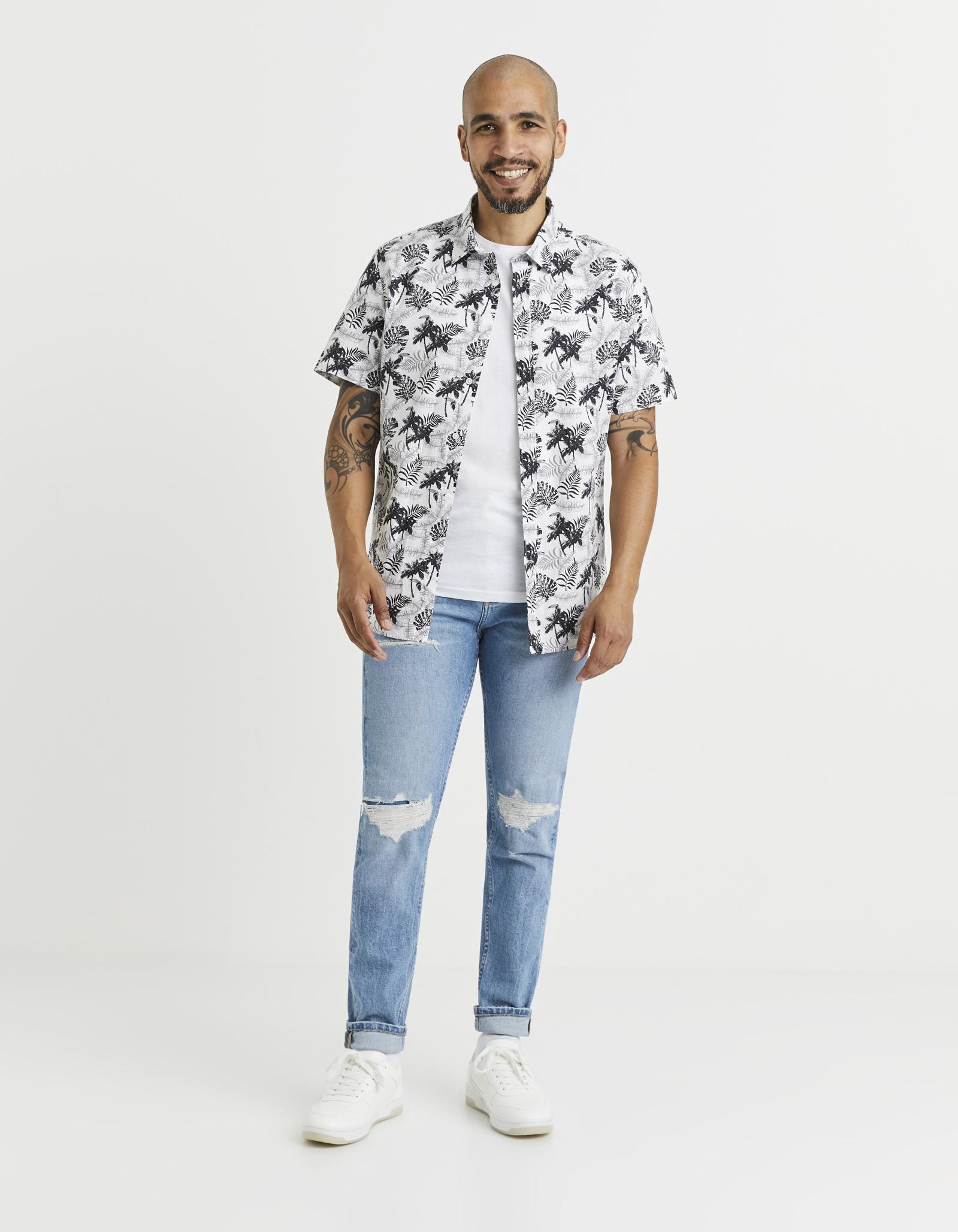 חולצה מכופתרת הדפס קצרה