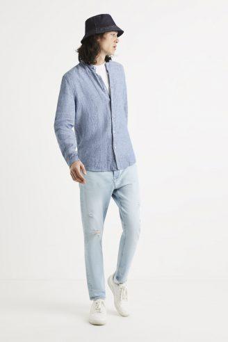 חולצה מכופתרת 100% פשתן, צווארון סיני